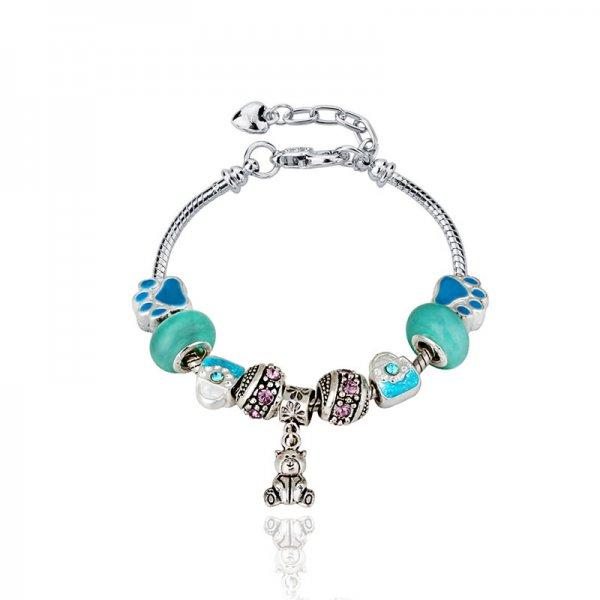Bratara argint Pandora Charm Style Ursulet in Turqoise