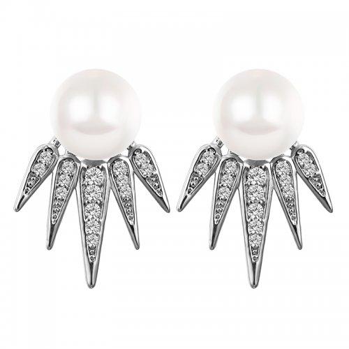 Cercei argint cu perla si cristale Swarovski
