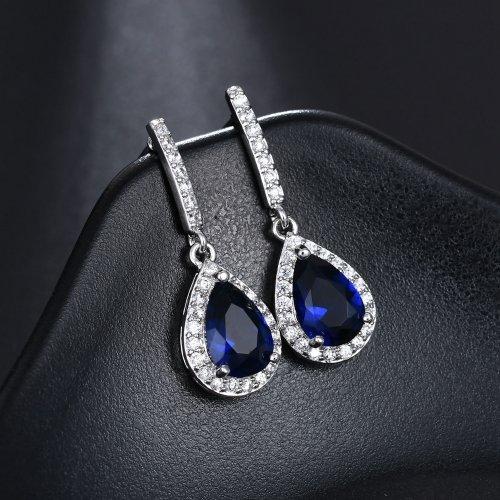 Cercei din argint cu cristale Swarovski British Blue