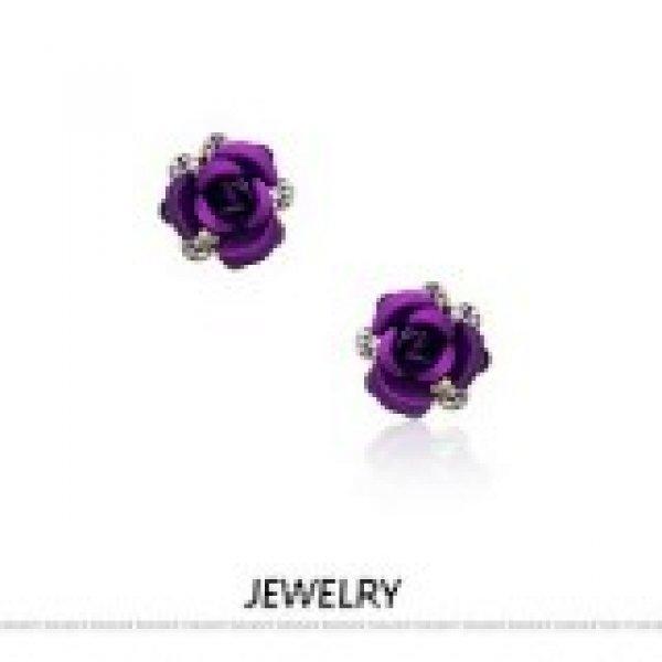 Cercei din argint cu cristale Swarovski Purple Lumia