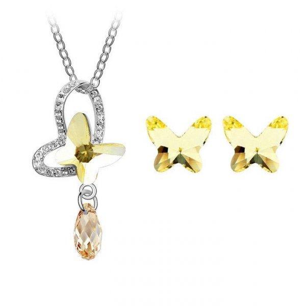 Set argint Fluture Galben cu Cristale Swarovski Yellow