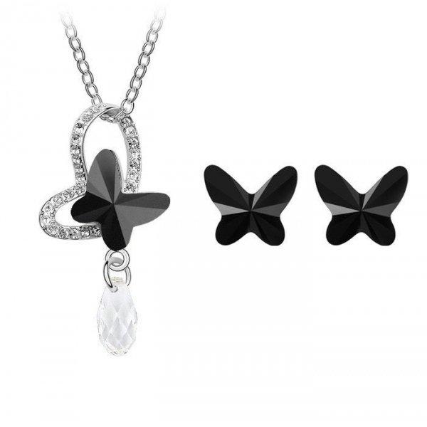 Set argint Fluture Negru cu Cristale Swarovski Black