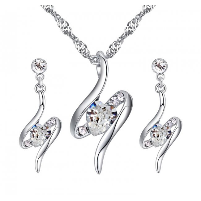 Infinity silver set with swarovski crystals