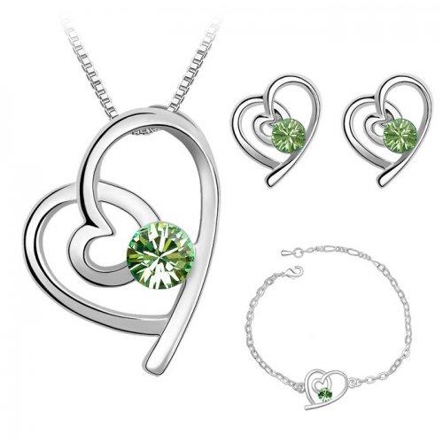 Set Argint inima Elemente Swarovski Inima Green Unique