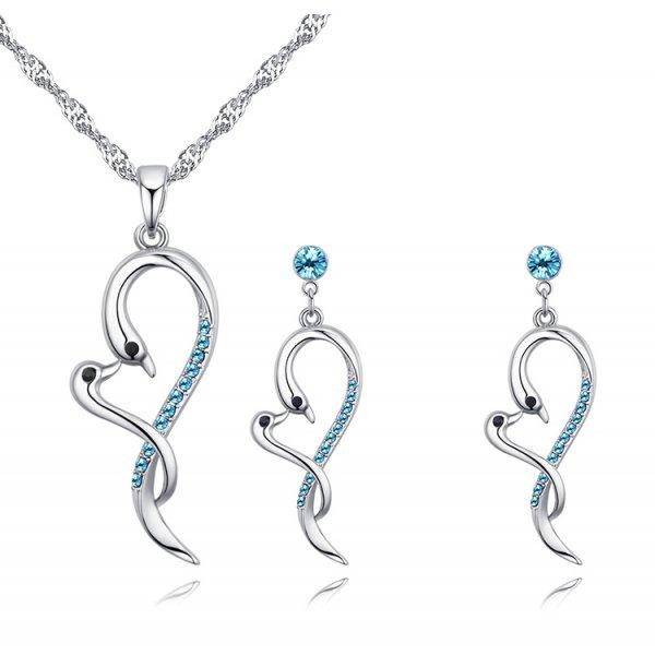 Set din argint cu cristale Swarovski Blue Aqua Summer