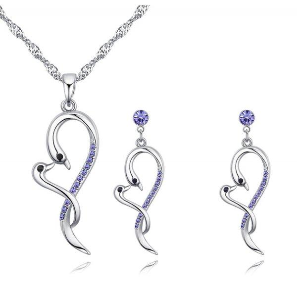 Set din argint cu cristale Swarovski Purple Summer