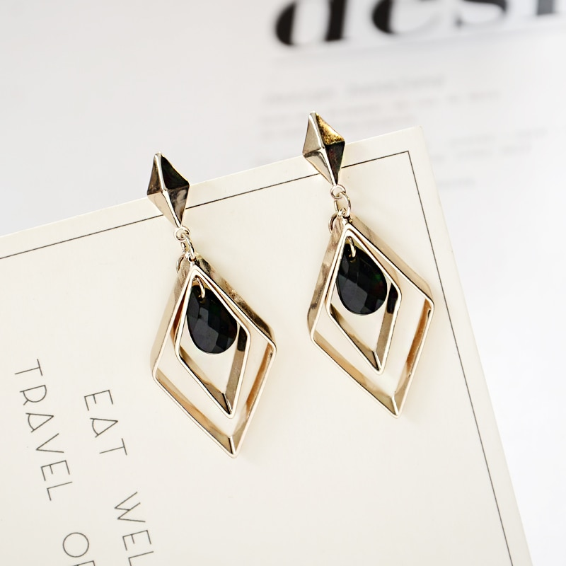 2019-Womens-Fashion-Water-Drop-Black-Crystal-Earrings-Lozenge-Geometric-Hollow-parallelogram-Drop Earrings-For-Women-Jewelry-32,952,694,712